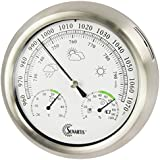Sunartis THB367 Outside Weather Station with Stainless Steel Frame and Thermometer Hygrometer and Barometer approx. Ø 21 x 4 cm
