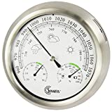 Mingle Instruments GmbH Europe Sunartis THB367 Outside Weather Station with Stainless Steel Frame and Thermometer Hygrometer and Barometer approx. Ø 21 x 4 cm