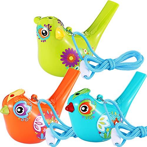 Tatuo 2 Stück Vogel Pfeife, Bunte Vogel Wasser Pfeife für Badespielzeug, Bad Vogel Pfeife für Kinder, Geburtstagsgeschenk, Ostergeschenk (Cyan, Orange und Kelly, 3 Stück)