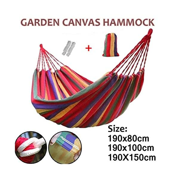 Ourine Portable Canvas Hammock, Camping Sleeping Swing Bed Hanging Backyard Garden Indoor Outdoor Hammock with Storage Bag Ourine The portable outdoor camping hammock can be taken to anywhere. Perfect for camping, backpacking, hiking, travelling. Its even great in your own garden patio backyard. Sturdy construction with durable canvas,wear-resisting,anti-tear,safe, soft and comfortable, can hold at most 150kg. Easy to fold and storage, can be used as mat,dampproof mat, picnic mat and so on. 1