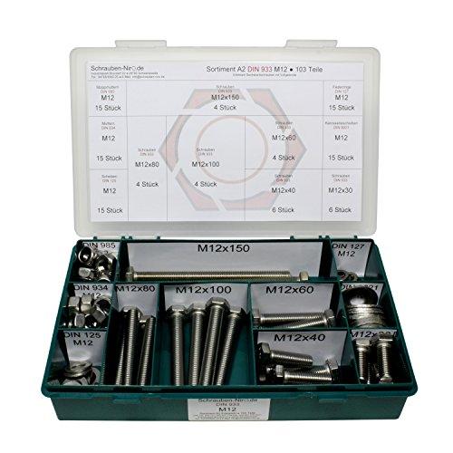 Sortiment M12 DIN 933 Edelstahl A2 (V2A) Sechskantschrauben mit Gewinde bis Kopf - Set bestehend aus Schrauben, Unterlegscheiben (DIN 125, 127, 9021) und Muttern (DIN 934, 985) - 103 Teile
