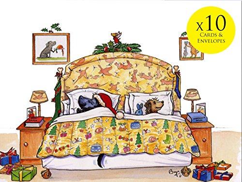 10perro tarjetas Navidad sobres. Víspera Navidad