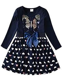 VIKITA Vestido para Niñas Manga Larga Algodón Princesa Casuales Bebe Niñas 2-8 años