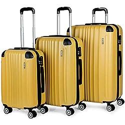 ITACA - 771000 Juego Set 3 Maletas Trolley 50/60 / 70 cm ABS. Rígidas, Resistentes y Ligeras. Mango Telescópico, 2 Asas, 4 Ruedas, Candado Integrado, Color Mostaza