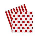 Papierservietten in Weiß/Rot - mit Streifen und großen Punkten von Paper Eskimo