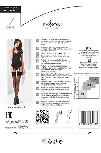 Damen Dessous Strümpfe in rot Straps Stockings für Strumpfhaltergürtel mit feinem Stoffrand transparent 17 DEN 1/2 1/2 - 2