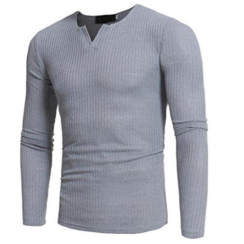 Elecenty Herren Langarmshirt Longsleeve Slim Fit T-Shirt Leicht Oversize Basic Männer Sweatshirt Kompressionsshirt Grandad-Ausschnitt aus hochwertiger Baumwoll-Mischung (XXL, Grau 2)