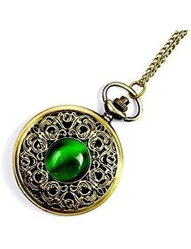 GSPStyle Damen Metall Taschenuhr Anhänger Halskette Quarz Uhren Grün Katzenauge Schmuck
