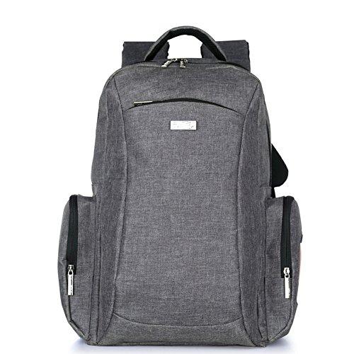 DOXUNGO Wickelrucksack Multifunktionale groß gräumig Mamatasche geschichtet Kinderwagentasche mit Wickelauflage für Mama Papa zum Reisen Wander Spaziergang (Grau)