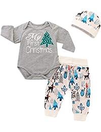 3 unids/Set Infant Baby Xmas Jumpsuits Mi Primer Mameluco de Manga Larga Estampado navideño