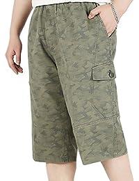 Los hombres de algodón clásico de carga corto pantalones de ocio overoles recortados pantalones
