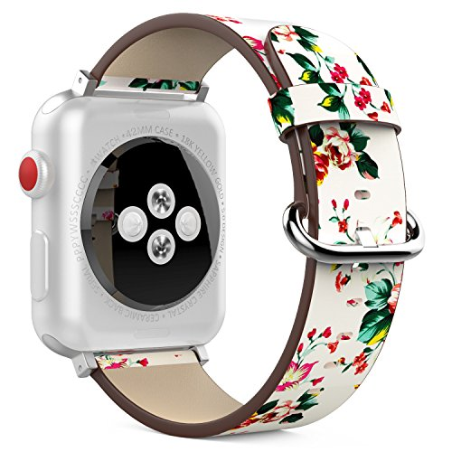 MoKo Strap for Apple Watch 42mm 3 / 2 / 1 Series, Replacement Natural Leather Band Bracelet with Buckles for Apple Watch Nike 42mm 2017 (Versions Not Suitable for 38 mm) - White & Colorful Peony