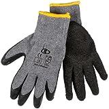 12 Pairs Of Builders Gardening DIY Latex Coated Work Gloves - Black (Size 8)