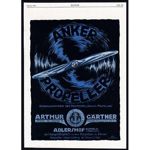 ThePrintsCollector Antique Print, pubblicità-Anker-aeromobili a forma di elica di propulsione, arma Factory-1918,