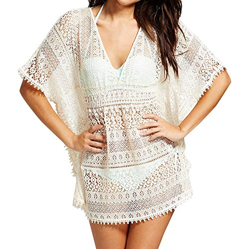 Renile Damen Fashion Sunscreen Strick Bade-Bikini Strand V-Ausschnitt Damen Bluse Top Bohemia Cardigan Gr. M, weiß - Kalte Schulter Bauern Top