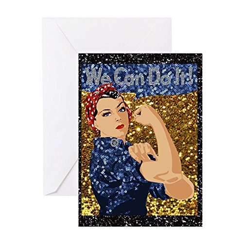 CafePress - Glitzer Rosie The Riveter - Grußkarte, Note Karte, Geburtstagskarte, innen blanko, matt (Halloween Happy Rockabilly)