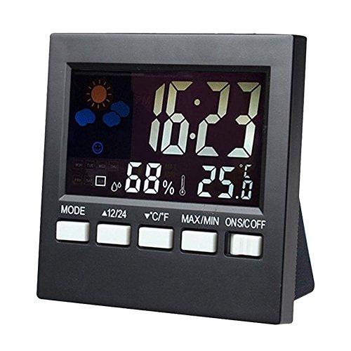 niceEshop(TM) LCD Bildschirm Digitale Innenwettervorhersage Temperatur Feuchte Monitor Wecker (Tragbare Tisch-projektor-bildschirm)