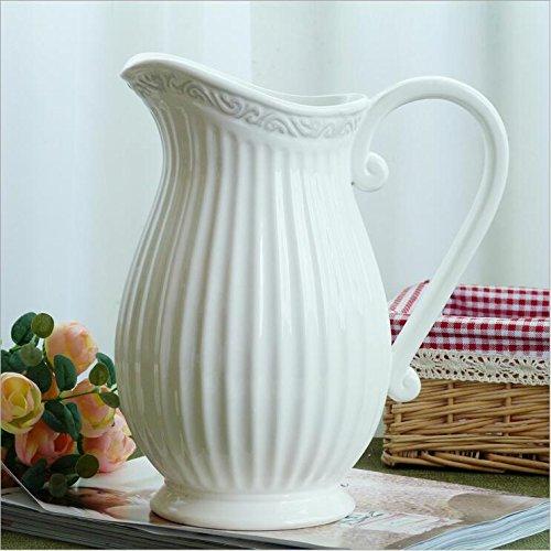 Maivas Keramik Ornamente Dekoration Vase Amerikanischen Dorf Einzige Ohr Milchflasche Retro Thread Blume Handwerk,Weiß