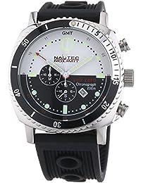 Nautec No Limit - SZ QZ-GMT/RBSTSTBKWH - Montre Homme - Quartz Chronographe - Chronomètre - Bracelet Caoutchouc Noir