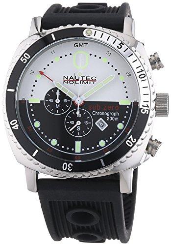 Nautec No Limit Herren-Armbanduhr Sub Zero SZ QZ-GMT/RBSTSTBKWH