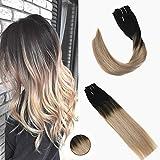 Ugeat 16 Pouces Clip Dans de Vraies Extensions de Cheveux Humains 120g 7 Pièces Soyeux Droite Ombre Noire avec Marron et Blonde Remy Cheveux