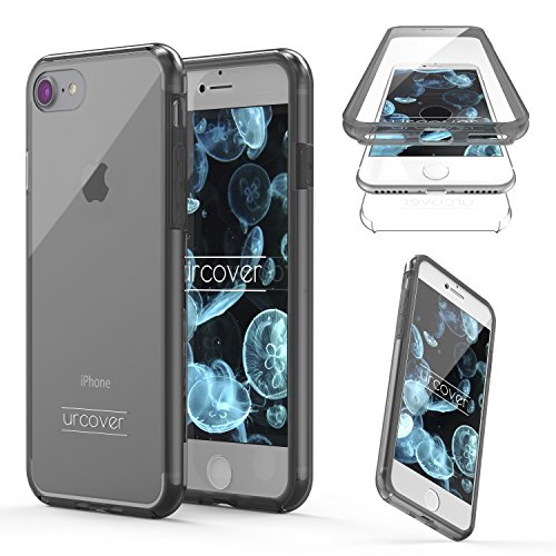"Urcover Apple iPhone 7 Hülle ""Unbreakable Case bekannt aus Galileo I 360 Grad Rundum-Schutz FullCover I Crystal Clear Full Body Cover I Handy-Tasche Schale Handy-Hülle Grau Transparent"