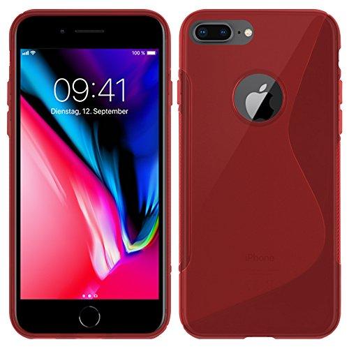 Apple iPhone 8 Plus - TPU Schutzhülle S-Style S Design Case Schutz Cover Etui Hülle in Schwarz - RT-Trading Rot