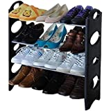 Naila Double Dustproof & Dampproof Shoe Rack Shoe Stand Shoe Cabinet Shoe Organiser Shoe Rack Home & Office Shoe Rack Plastic Collapsible Shoe Stand (Black)