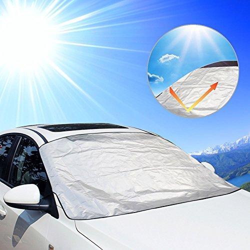 Auto Sonnenschutz, Aodoor Sommer Sonnenschutz Auto mit UV Schutz für Hunde und Babys,Winterabdeckung Eisschutz Schneeschutz Windschutzscheiben + Sommer KFZ Sonnen Hitzeschutz Scheibenschutz-210 x 120cm