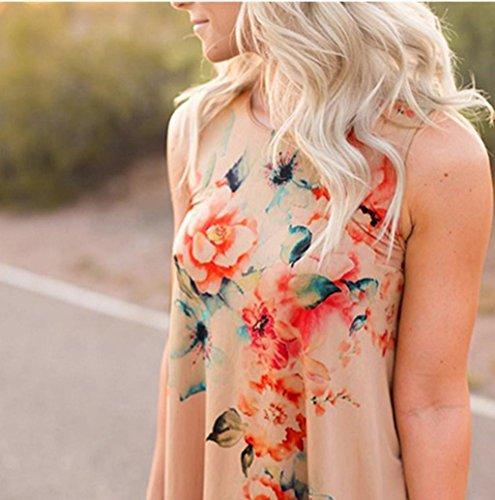 Rosennie Damen Sommer Blumen Gedruckt T-Shirt Oben Panzer Khaki
