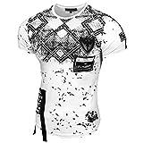 Rusty Neal Herren Rundhals T-Shirt Kurzarm Slim Fit Design Fashion 15151, Farbe:Weiß;Größe:L