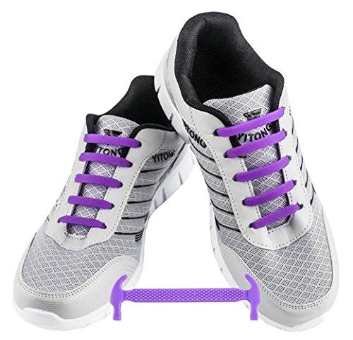 WELKOO Elastische Schnürsenkel aus Silikon Ohne Schnürung Wasserdicht für Schuhe für Erwachsene 16 Stck. Farben lila (Erwachsene 16)