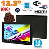 YONIS - Tablette tactile 13 pouces Android 4.4 KitKat WiFi Bluetooth 16Go Noir
