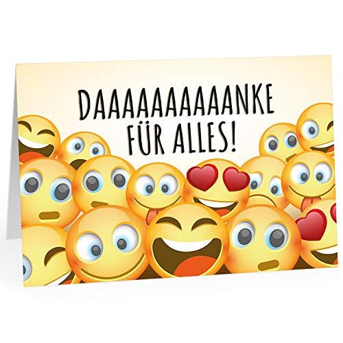 Große Dankeskarte XXL (A4) als Dankeschön/Danke für Alles - Viele Smileys/mit Umschlag/Edle Design Klappkarte/Danke sagen/Danksagung/Danke sehr/Extra Groß/Edle Maxi Gruß-Karte (Große Danke-karte)