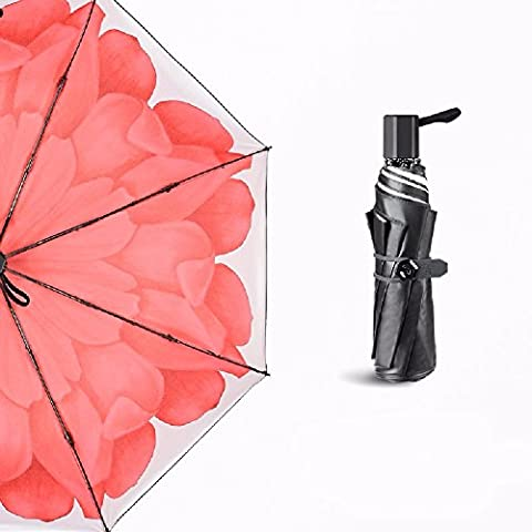 KHSKX Daisy black umbrella, sunscreen UV sun umbrella, folding rain and rain triple umbrella,D