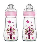MAM 67036722 - 2 Stück Feel Good Glass Bottle 260 ml Glas Flasche für Mädchen