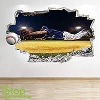 1Stop Graphics Shop BASEBALL WALL STICKER 3D LOOK - BOYS KIDS BEDROOM SPORT WALL DECAL Z529