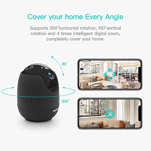 Camara IP HD de 720p  Netvue WiFi Wireless Home Seguridad Cámara con Audio de Dos Vias  Smart Deteccion de Movimiento  Camara de Vision Nocturna  Para Bebé/Anciano/Home Security/Monitor de Mascotas  Negro