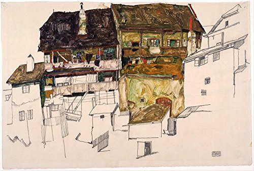 Das Museum Outlet – Egon Schiele – Old Houses in Krumau – Poster Print Online kaufen (152,4 x 203,2 cm)