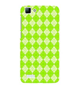 PrintVisa Corporate Print & Pattern Green Square 3D Hard Polycarbonate Designer Back Case Cover for Vivo V1