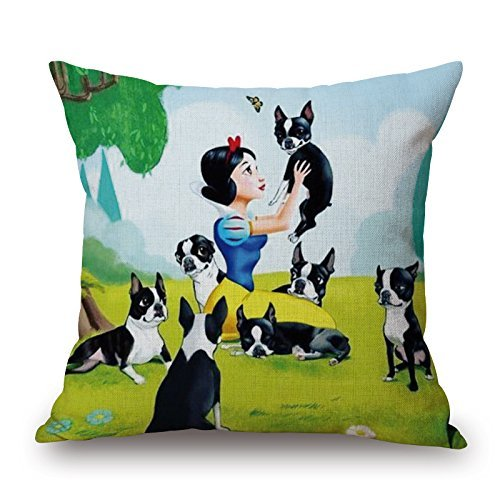 nen Decorative Square Throw Pillow Covers Cute Pet Dog Cartoon Pillowcases for Kids Girl Girls-Pattern,45x45cm ()