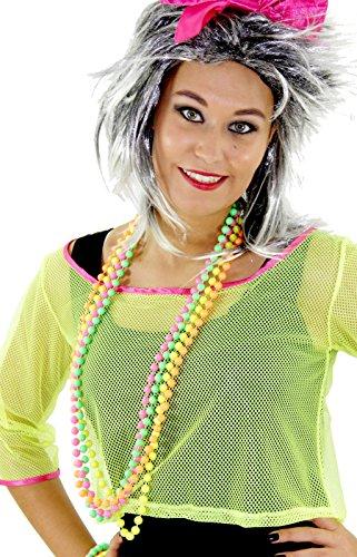 Foxxeo 80er Jahre Neon Perlenketten - 4er Set - pink gelb grün orange - Accessoires Schmuck Kette zum Bad Taste Kostüm