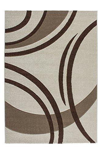 Sona-Lux Teppich modern Handgecarved 3D Effekt Juterücken Elfenbein Ivory Schwarz Braun Größe Wählen 80 x 300 cm -