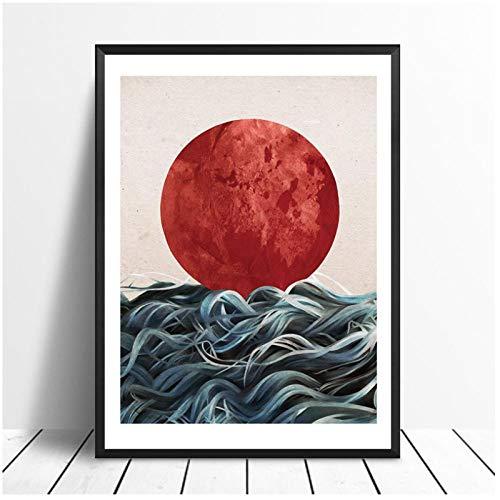dayanzai Abstrakte Japanische Sonnenaufgang Poster Und Drucke Wandkunst Leinwand Malerei Bilder Für Wohnzimmer Skandinavischen Seascape Wohnkultur 50X70 cm Kein Rahmen