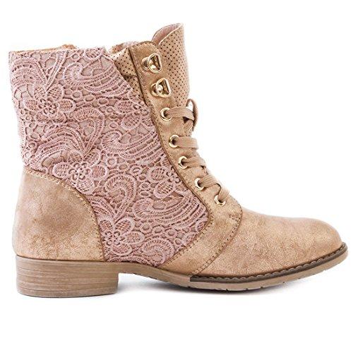 Marimo24 Damen #Trendboot Stiefel Stiefeletten Worker Boots mit Spitze in hochwertiger Lederoptik Übergrößen bis 43 Bronze