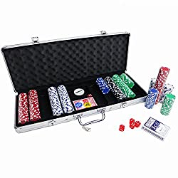 Oypla Poker Set - 500 Piece Texas Hold Em Complete With Chips, Cards, Dice, & Casino Style Case