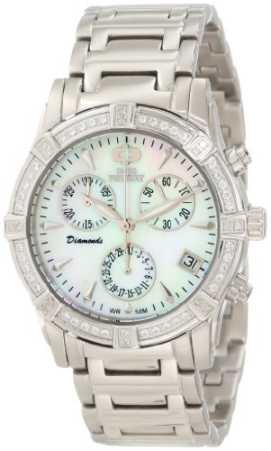 Swiss Precimax Women's 34mm Silver-Tone Ceramic Band Steel Case Swiss Quartz MOP Dial Watch SP12080