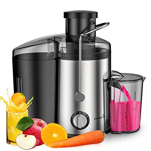 Entsafter für Gemüse und Obst aus Edelstahl Easehold, Weite Einfüllöffnung mit 2 Geschwindigkeitsstufen, Reinigungsbürste und Saftbehälter, BPA Frei, Saftpresse Juicer
