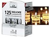 Weiße Teelichte in transparenter Hülle - mehr Leuchtkraft und besonders warmes Licht - (in verschiedenen Varianten) (125er Maxi-Box Teelichter)