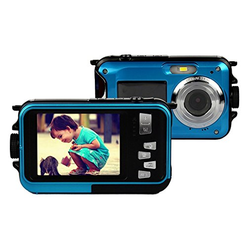 Digital-Camcorder, Stoga CGT001 Doppelbildschirme Wasserdichtes Digital-Videokamera 2.7-Zoll-Front LCD mit 2,7-Zoll-Kamera Einfache Selbstschuss Kamera-Blau